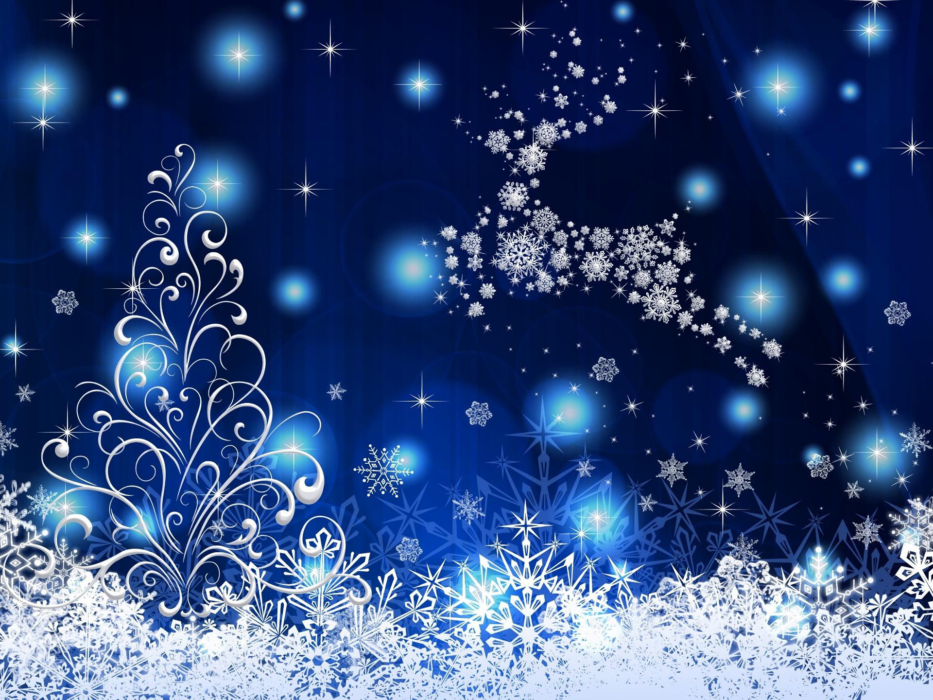 Blue Christmas Tree Forum Avatar: Christmas Tree And Reindeer HD Wallpaper