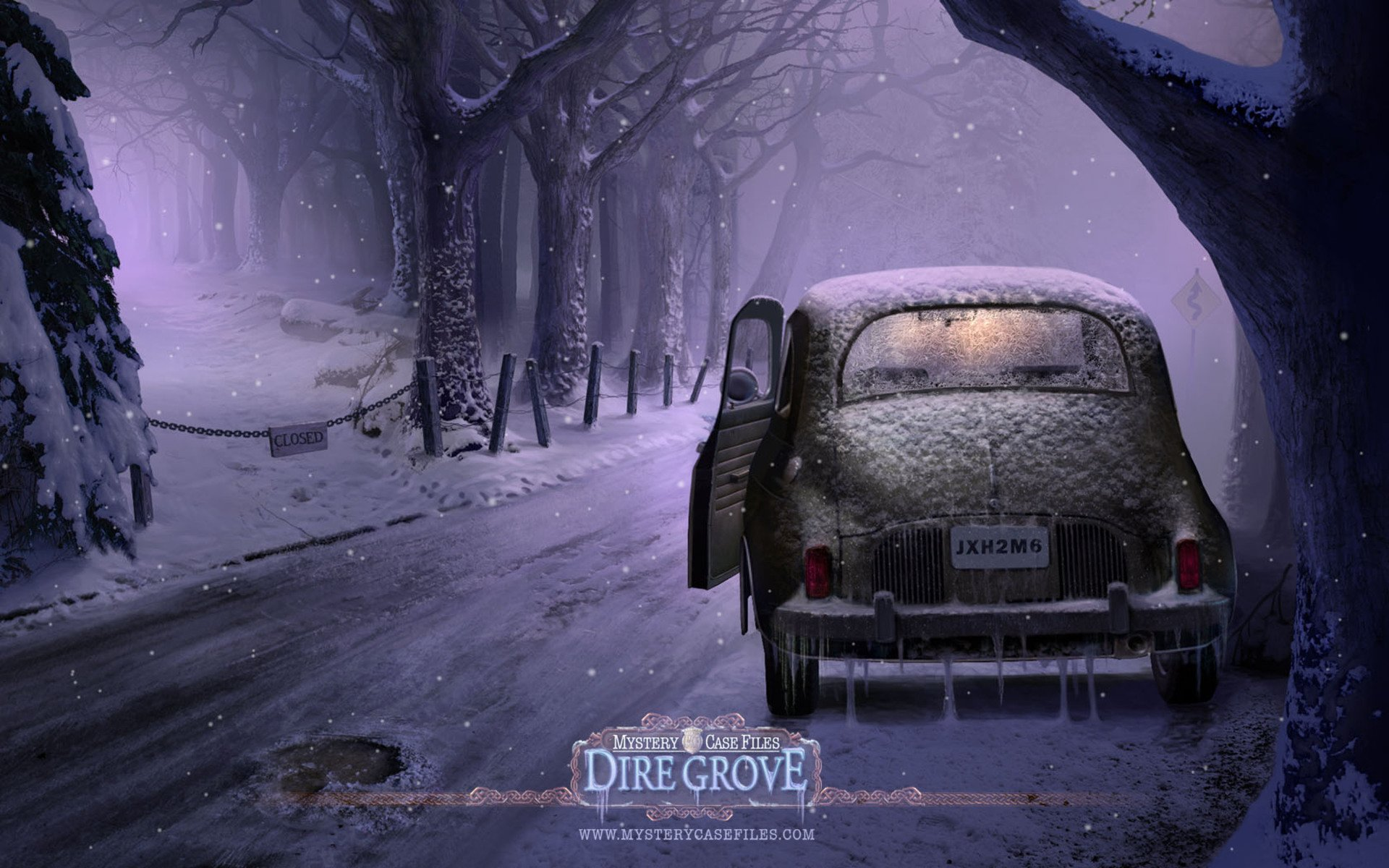 Video Game - Mystery Case Files: Dire Grove  Video Game Winter Snow Road Old Car Vintage Wallpaper