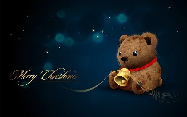 Holiday Christmas Night Stars Bell Merry Christmas Bear HD Wallpaper | Background Image