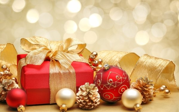Holiday Christmas Decoration Golden Gift Pine Cone Bokeh HD Wallpaper   Background Image