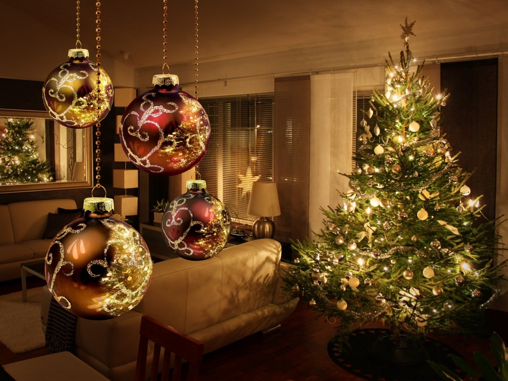 节日 - 圣诞节  Decoration Christmas Tree Bauble 房间 Ligths 壁纸