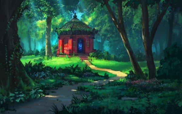 Fantasía Bosque Camino Edificio Oriental Árbol Fondo de pantalla HD | Fondo de Escritorio