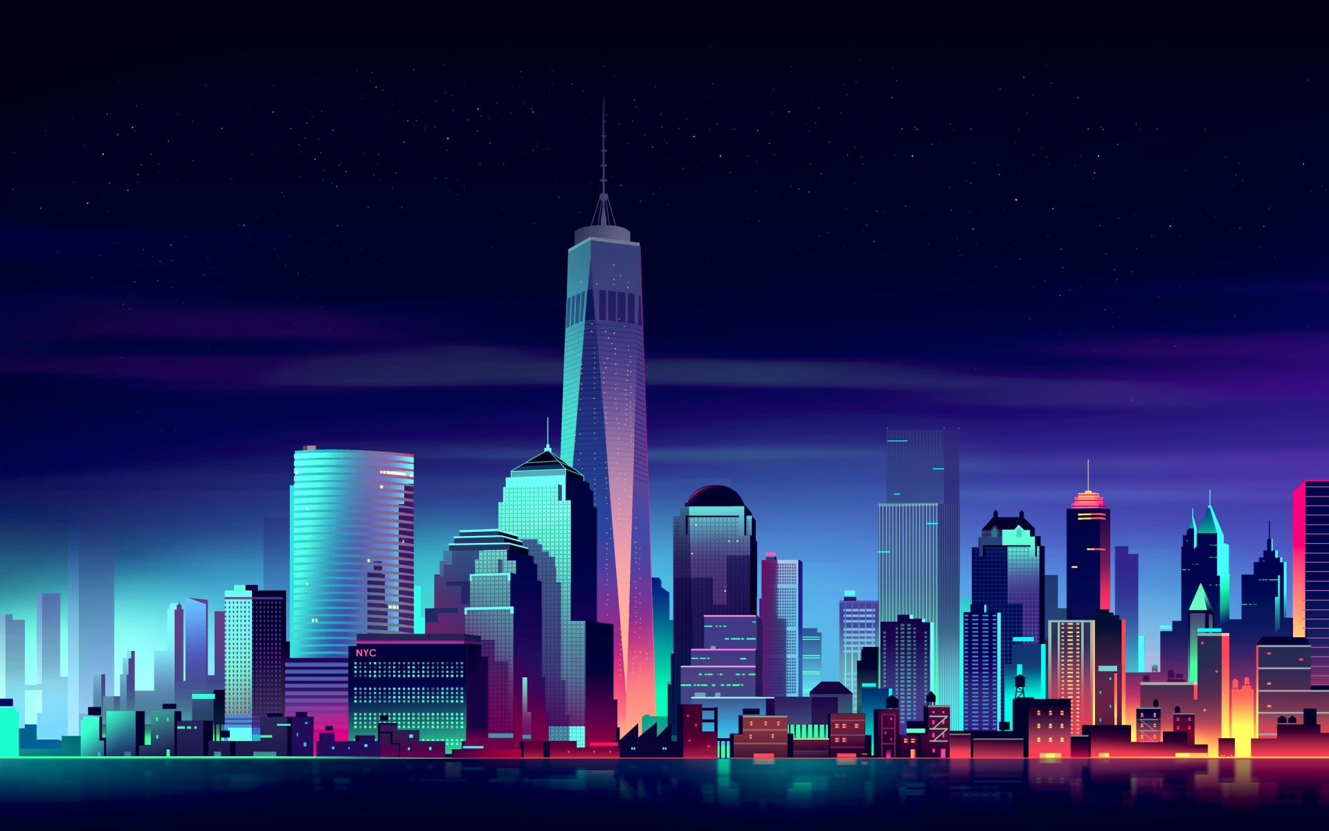 Man Made - New York  Skyscraper Stad Cityscape Artistisk Bakgrund