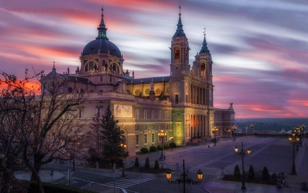 Religious Almudena Cathedral Cathedrals Madrid Sunset Square Building Architecture Dusk Light Cathedral Catedral de la Almudena HD Wallpaper   Background Image