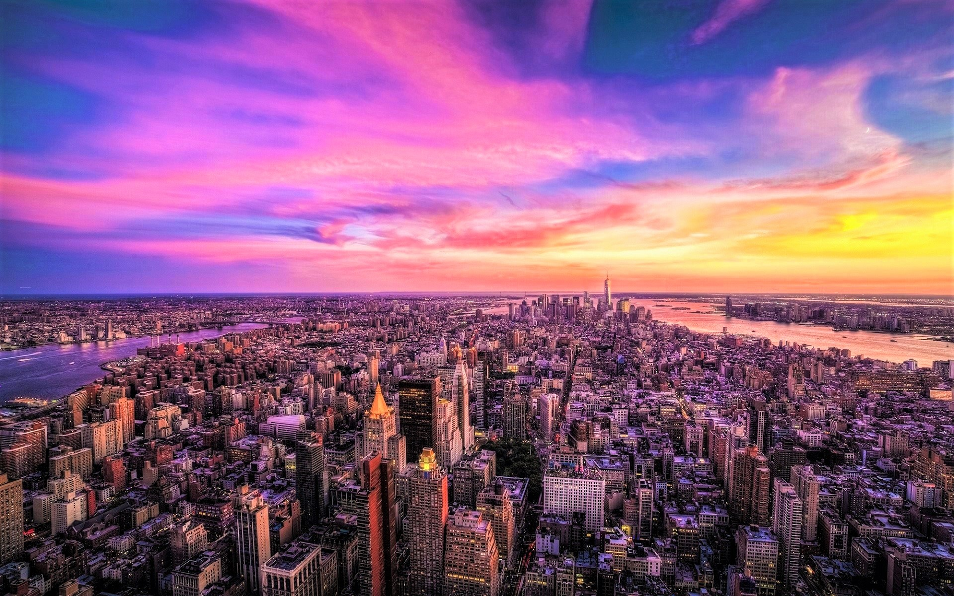 Sunset over manhattan panorama hd wallpaper background for Sfondi desktop new york