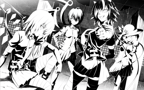 Anime Touhou Flandre Scarlet Seija Kijin Nue Houjuu Koishi Komeiji Monochrome HD Wallpaper | Background Image