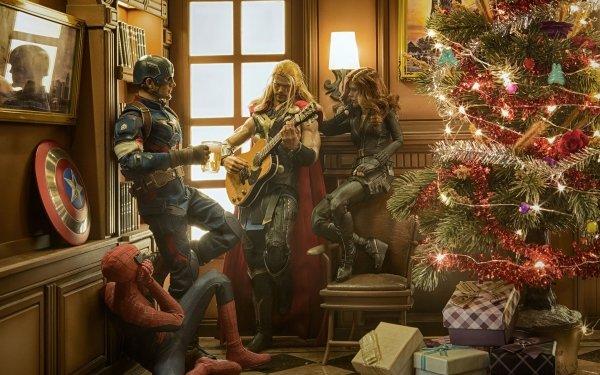 Comics Los Vengadores Navidad Christmas Tree Regalo Spider-Man Capitan América Viuda negra Thor Fondo de pantalla HD | Fondo de Escritorio