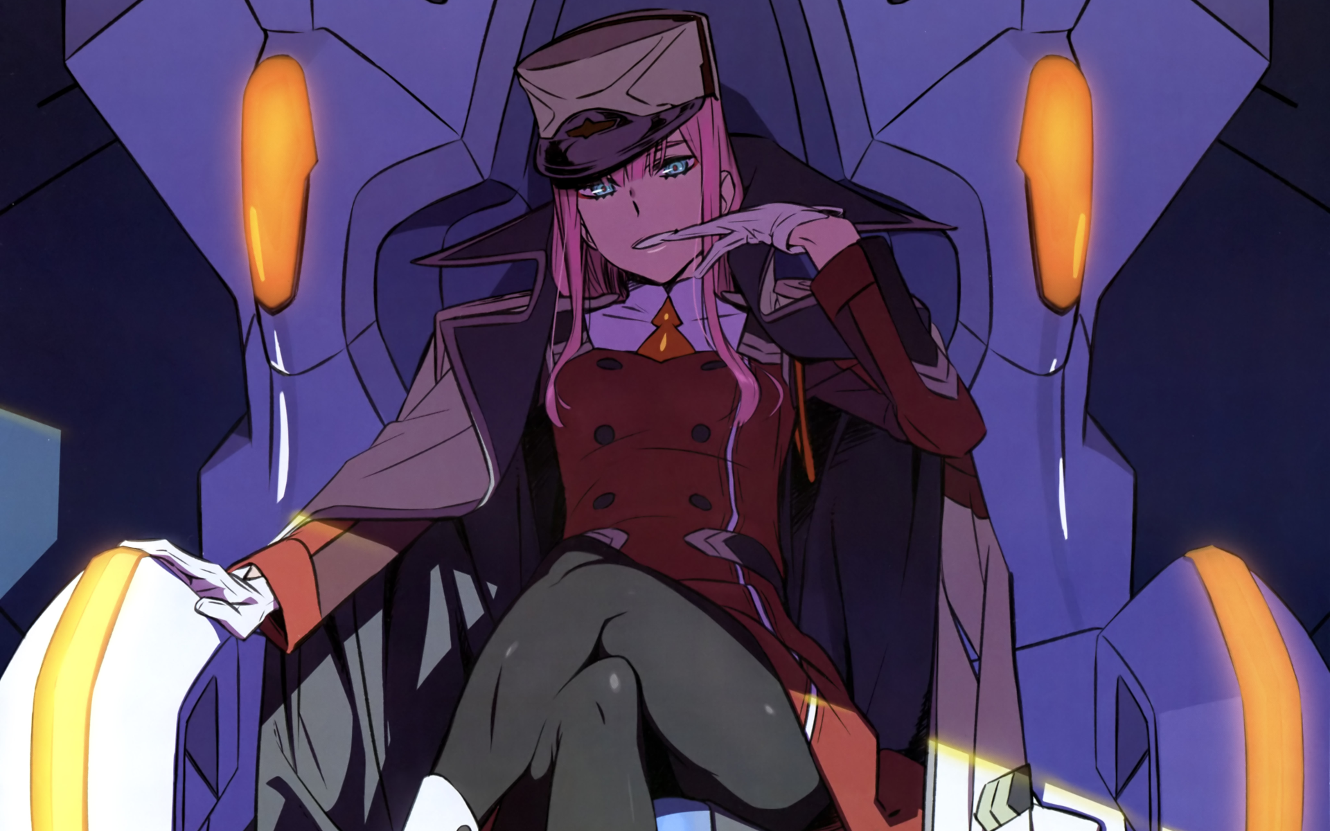 Anime - Darling in the FranXX  Zero Two (Darling in the FranXX) Long Hair Pink Hair Blue Eyes Hat Glove Smile Wallpaper