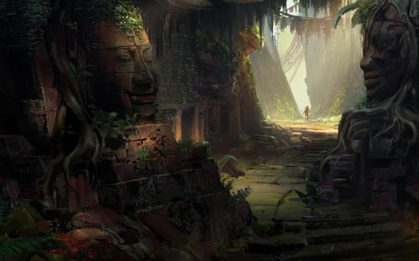 Fantaisie Ruine Statue Adventurer Tomb Raider Lara Croft Fond d'écran HD | Arrière-Plan