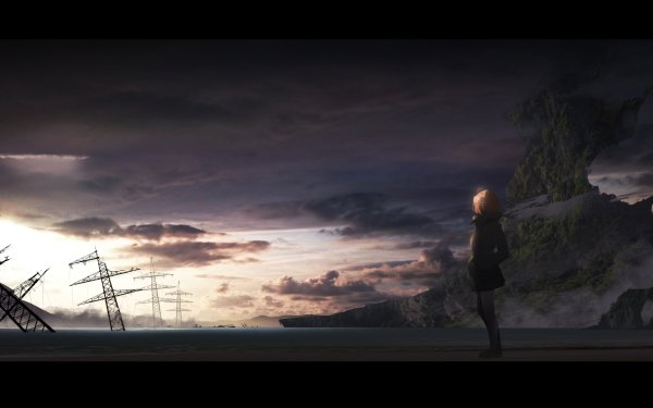 Anime Original Sunset Cloud Mountain Power Line HD Wallpaper | Background Image