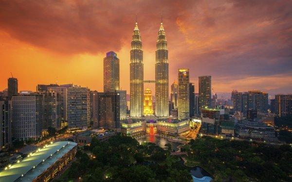 Man Made Kuala Lumpur Cities Malaysia City Night Building Skyscraper Petronas Towers HD Wallpaper | Background Image