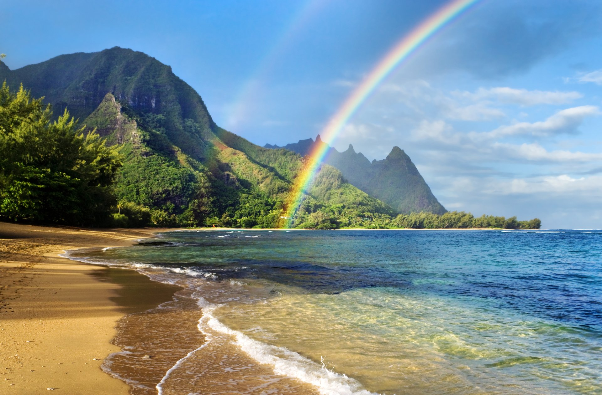 Earth - Rainbow  Nature Landscape Beach Sand Vegetation Mountain Water Sea Wallpaper