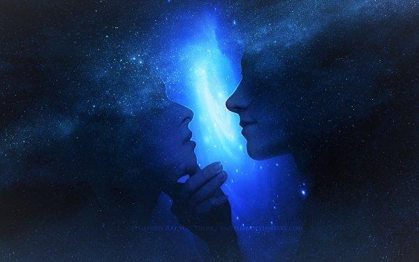 Artistic Love Couple Profile Blue HD Wallpaper | Background Image