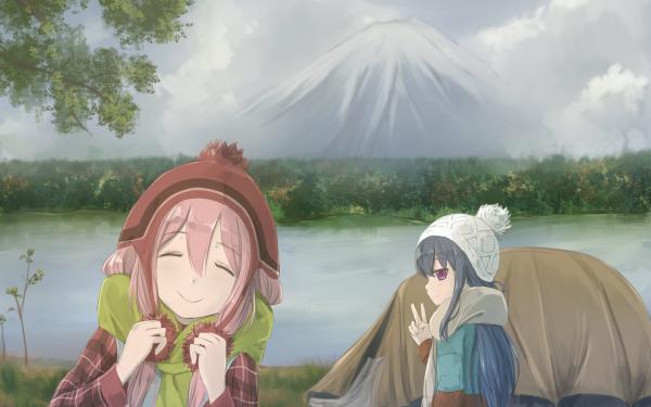 Anime Laid-Back Camp Rin Shima Nadeshiko Kagamihara Fondo de pantalla HD   Fondo de Escritorio