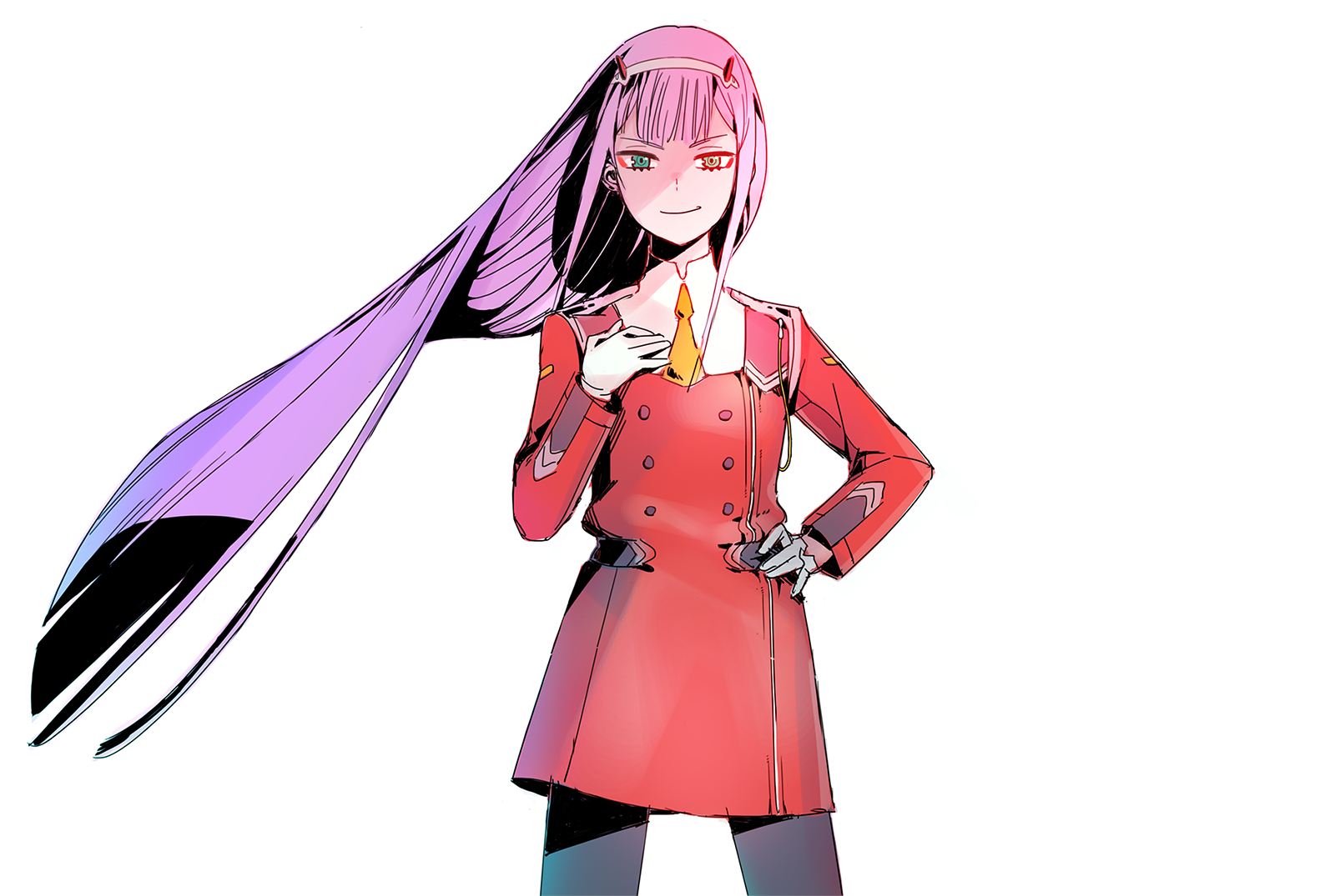 动漫 - Darling in the FranXX  Zero Two (Darling in the FranXX) Long Hair Pink Hair Green Eyes Smile Horns 壁纸