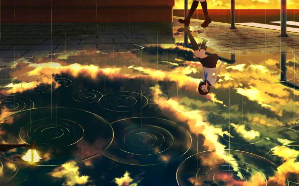 Anime Original Sun Rain Sky Cloud HD Wallpaper | Background Image