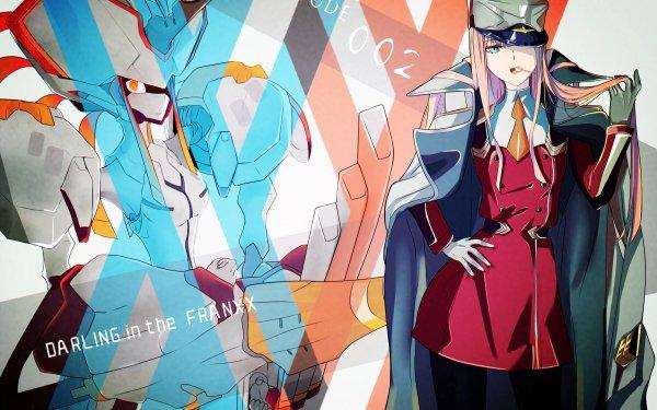 Anime Darling in the FranXX Zero Two Long Hair Pink Hair Hat Lollipop Coat Uniform Glove HD Wallpaper | Background Image