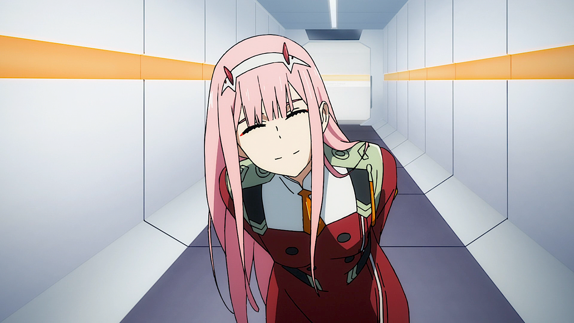 Anime - Darling in the FranXX  Zero Two (Darling in the FranXX) Anime Military Uniform Pink Hair Horns Wallpaper