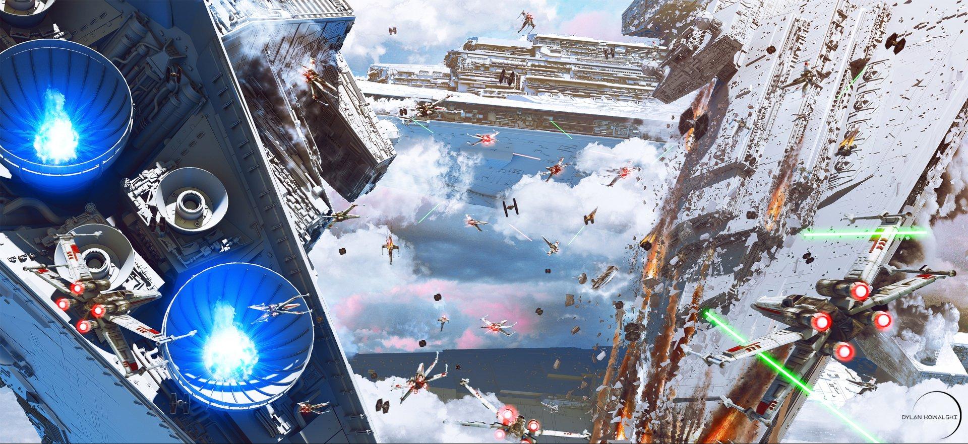 Sci Fi - Star Wars  Battle Star Destroyer X-Wing Wallpaper
