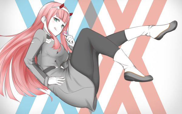 Anime Darling in the FranXX Zero Two Long Hair Pink Hair Green Eyes Horns Lollipop HD Wallpaper | Background Image