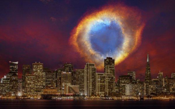 Man Made City Cities San Francisco Night Supernova Helix Nebula HD Wallpaper | Background Image