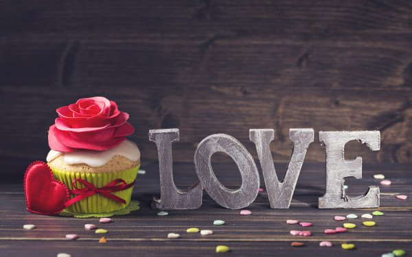 Holiday Valentine's Day Love Flower Cupcake HD Wallpaper | Background Image