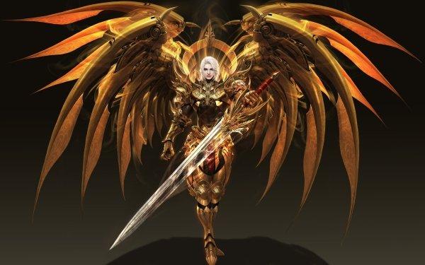 Fantasy Angel Warrior Sword Armor Wings White Hair HD Wallpaper   Background Image