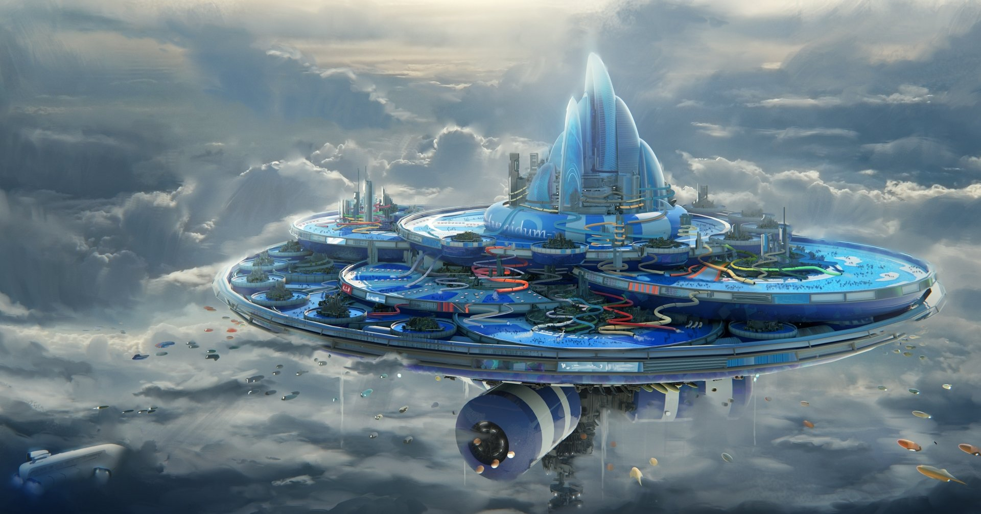 Sci Fi - City  Floating Island Cloud Aircraft Futuristic Wallpaper