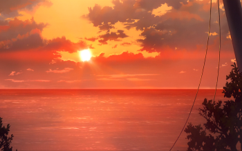 Anime Darling in the FranXX Sunset Beach Scenery HD Wallpaper | Background Image