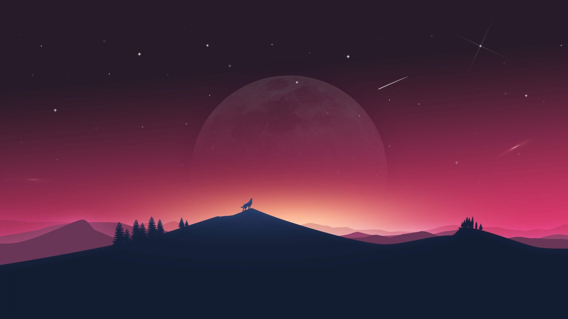 Fantasy - Wolf  Animal Silhouette Landscape Nature Night Sky Moon Wallpaper