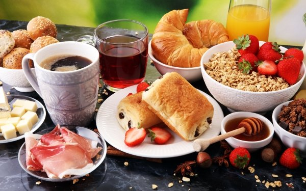 Mat Breakfast Still Life Viennoiserie Strawberry Coffee Cup Juice Croissant Honey HD Wallpaper | Background Image