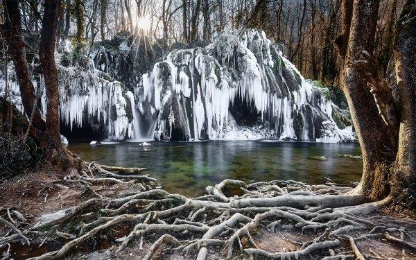 Earth Waterfall Waterfalls Roots Nature Winter Frozen HD Wallpaper | Background Image
