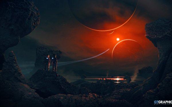 Sci Fi Astronaut Landscape Planet HD Wallpaper | Background Image