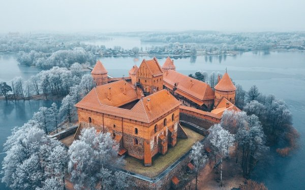 Man Made Castle Castles Lithuania Winter HD Wallpaper | Background Image