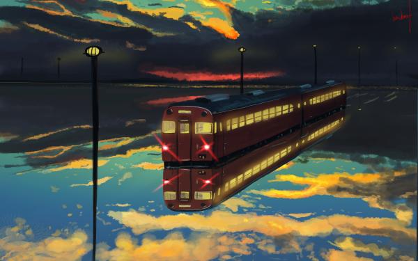 Anime Original Train Reflection Cloud Water HD Wallpaper | Background Image