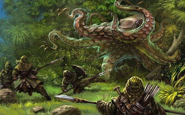 Fantasy Creature Octopus Warrior Spear HD Wallpaper | Background Image