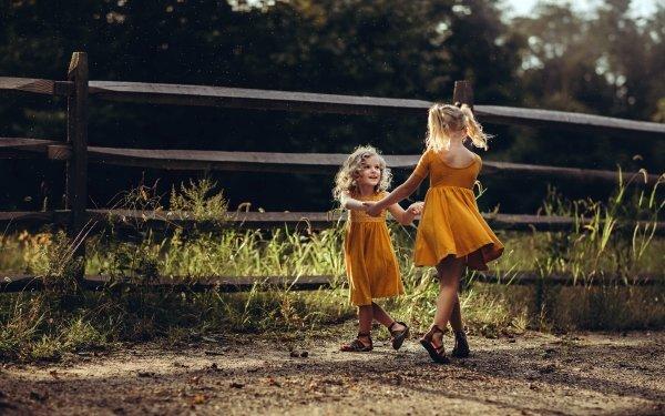 Photography Child Little Girl Friend Orange Dress Blonde HD Wallpaper | Background Image