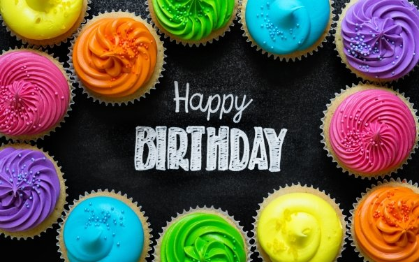 Holiday Birthday Happy Birthday Colors Cupcake HD Wallpaper | Background Image