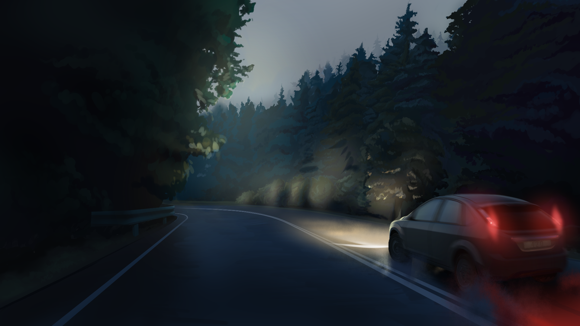 Dark Road With Car Hd Wallpaper Background Image 1920x1080