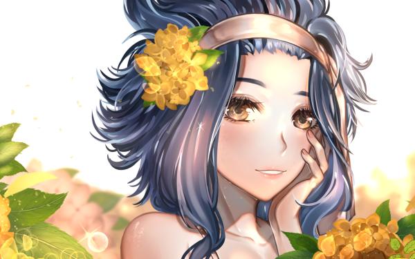 Anime Fairy Tail Levy McGarden Close-Up Smile Blush Fleur Headband Brown Eyes Blue Hair Short Hair Fond d'écran HD | Image