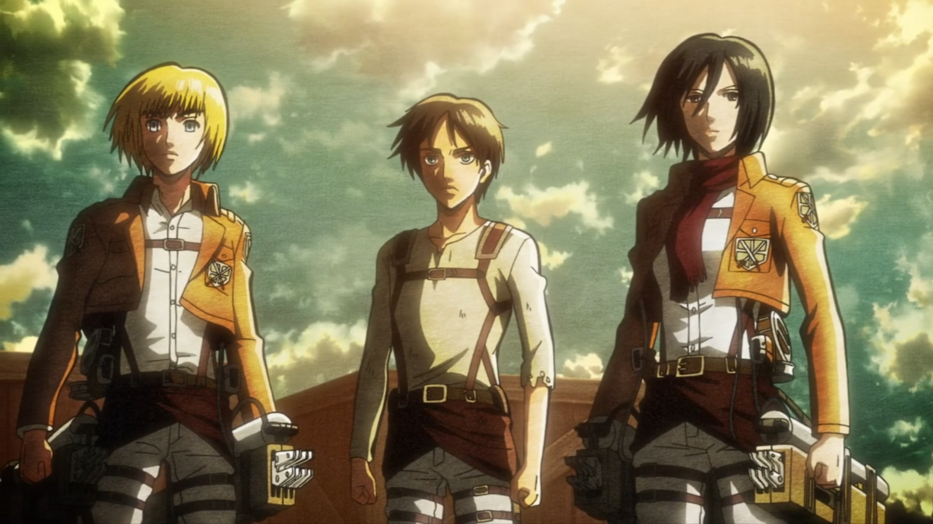 Eren Jaeger Mikasa Ackerman Armin Arlert Hd Wallpaper Background Image 1920x1080 Id 919228 Wallpaper Abyss