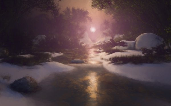 Earth Artistic Stream Winter Landscape Painting Snow HD Wallpaper   Background Image