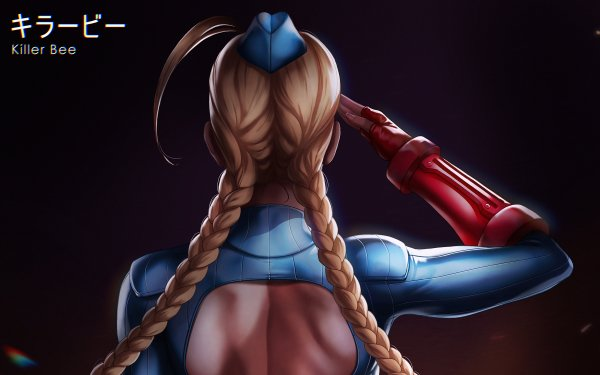 Video Game Street Fighter Cammy Long Hair Blonde Military Braid Hat Rear HD Wallpaper | Background Image