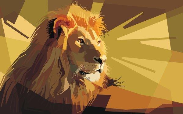 Animal Artistic Lion Geometry HD Wallpaper | Background Image
