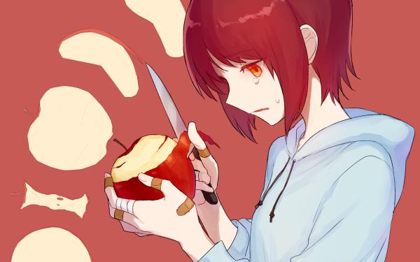 Anime Original Manzana Short Hair Red Hair Orange Eyes Hoodie Bandage Cuchillo Fondo de pantalla HD | Fondo de Escritorio