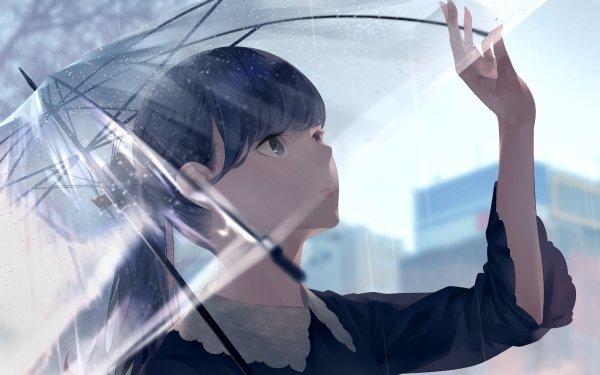Anime Original Umbrella Blue Eyes Long Hair HD Wallpaper   Background Image