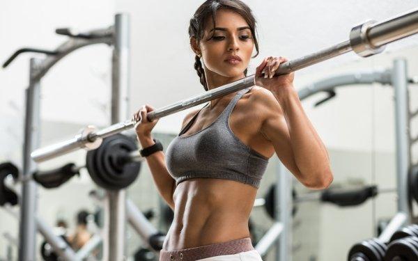 Women Weightlifting Fitness Model Brunette HD Wallpaper   Background Image