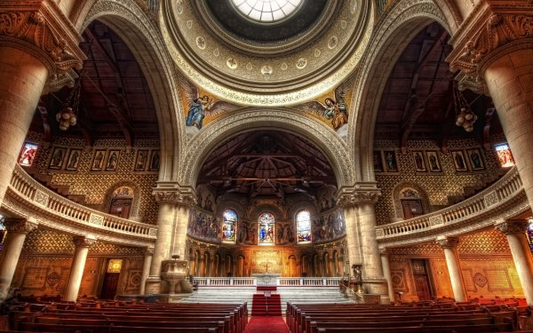 Religious Cathedral Cathedrals Altar Architecture Stained Glass HD Wallpaper   Background Image
