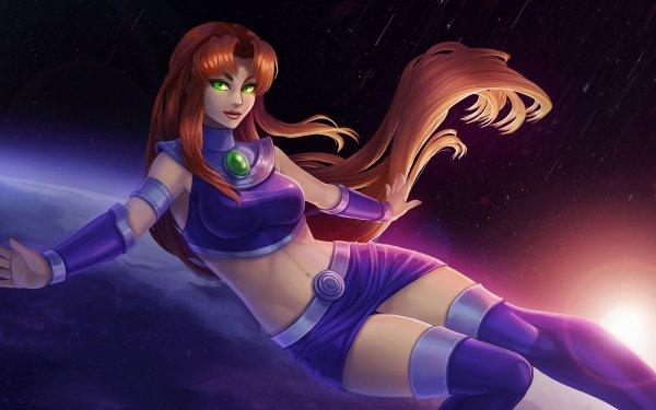 Comics Starfire Teen Titans Girl DC Comics Green Eyes Long Hair Red Hair Alien HD Wallpaper   Background Image