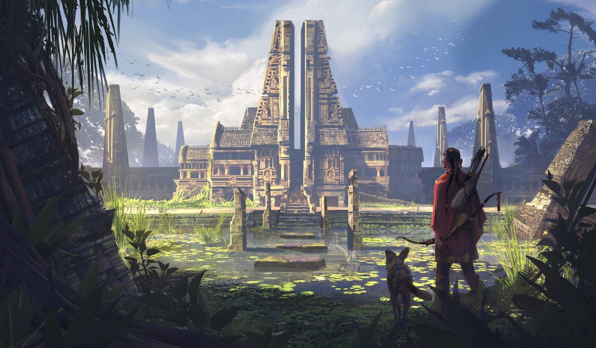 Fantasy - Temple  Building Man Dog Hunter Wallpaper